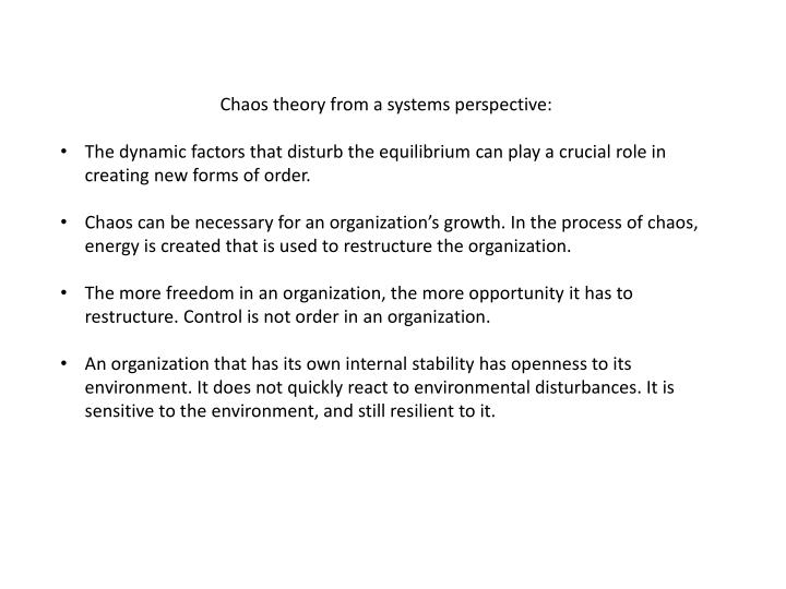 Chaos theory from a systems perspective: