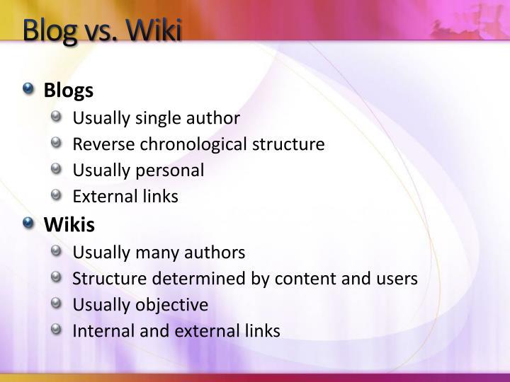 Blog vs. Wiki