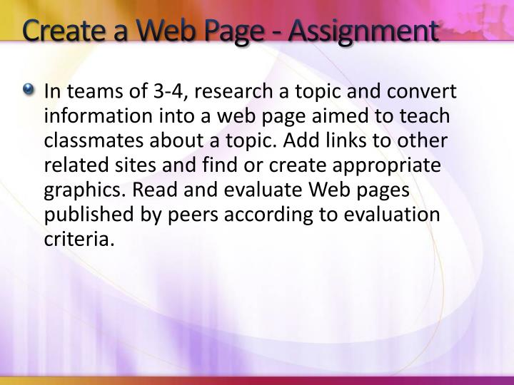 Create a Web Page - Assignment