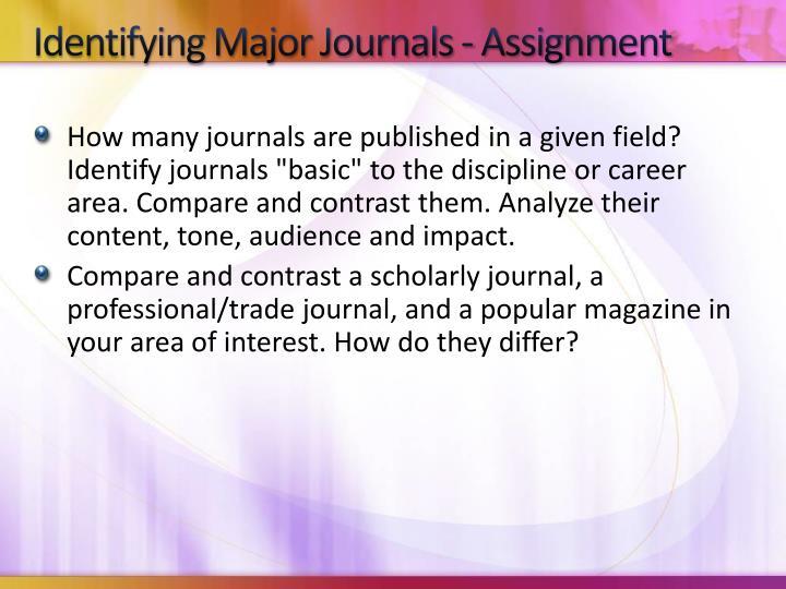 Identifying Major Journals - Assignment