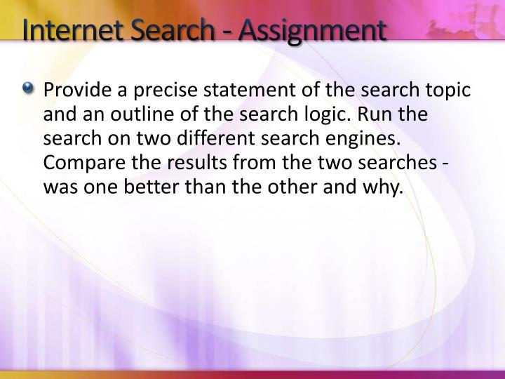 Internet Search - Assignment