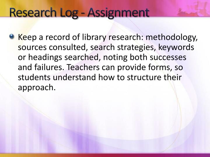 Research Log - Assignment