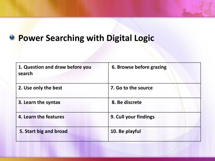 Power Searching with Digital Logic