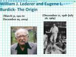 william j lederer and eugene l burdick the origin