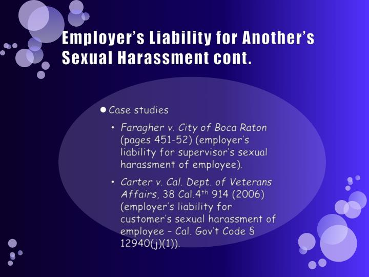Employer's Liability for Another's Sexual Harassment cont.