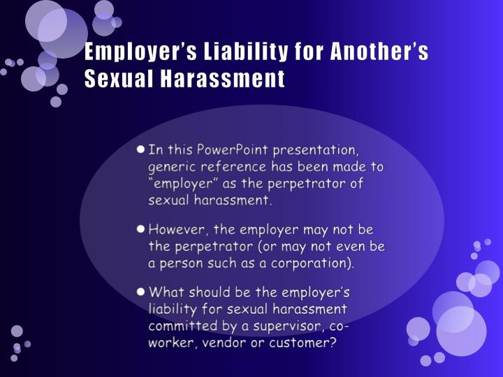 Employer's Liability for Another's Sexual Harassment