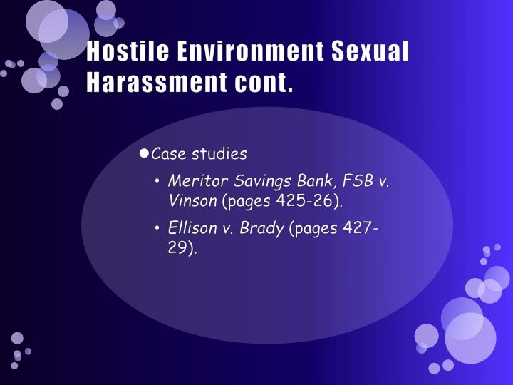 Hostile Environment Sexual Harassment cont.