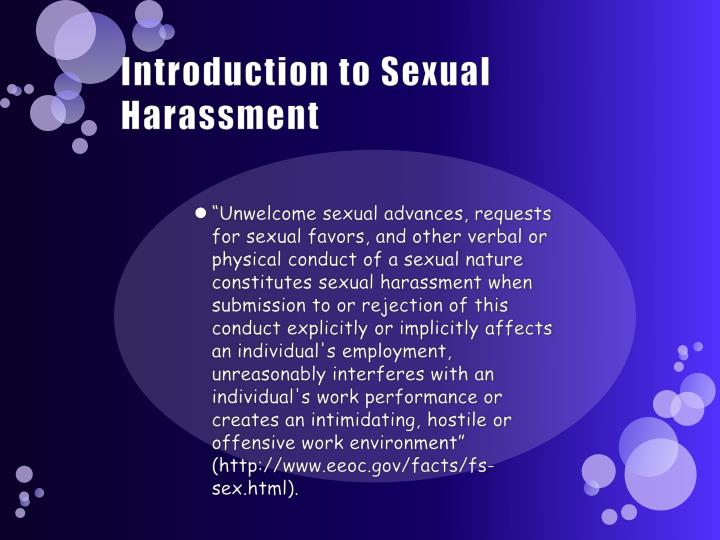 Introduction to Sexual Harassment