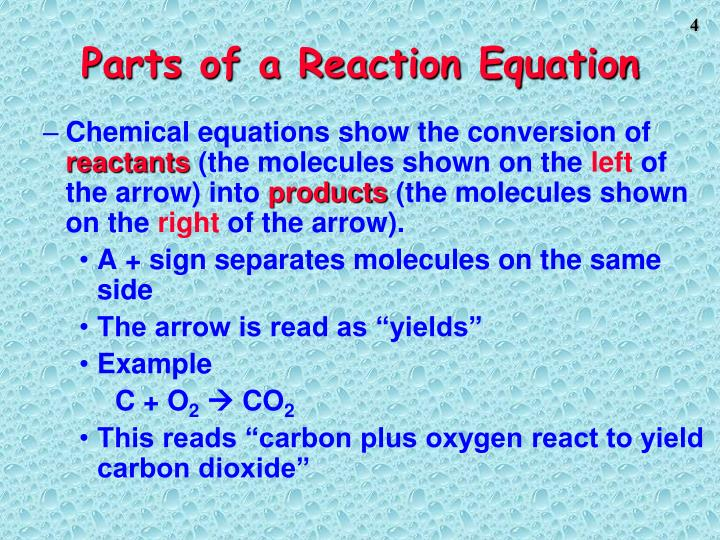 Parts of a Reaction Equation