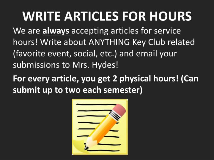 WRITE ARTICLES FOR HOURS