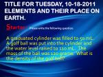 title for tuesday 10 18 2011 elements and their place on earth