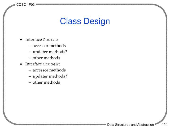 Class Design