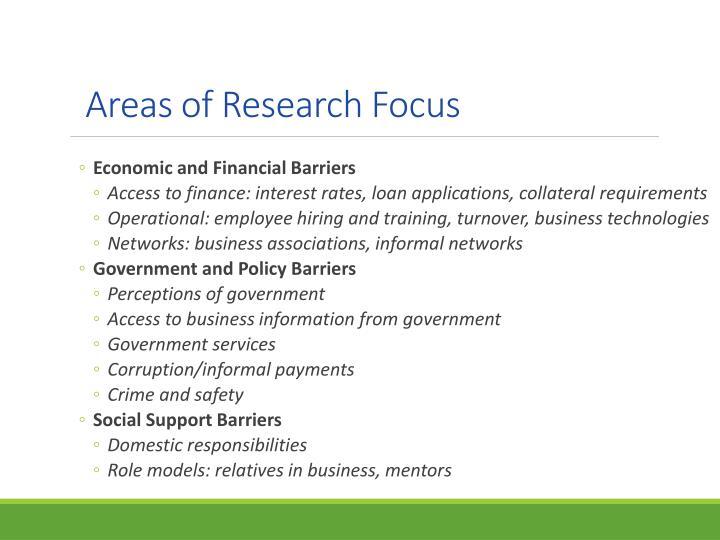 Areas of Research Focus