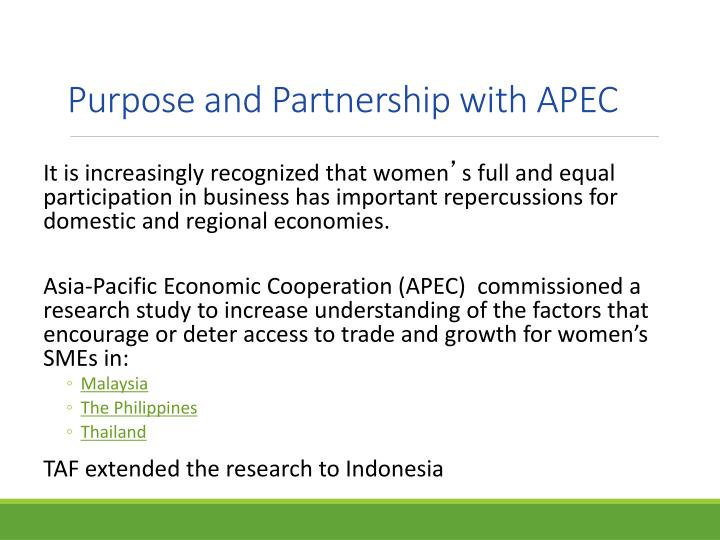 Purpose and Partnership with APEC
