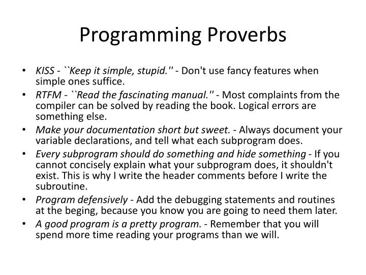 Programming Proverbs