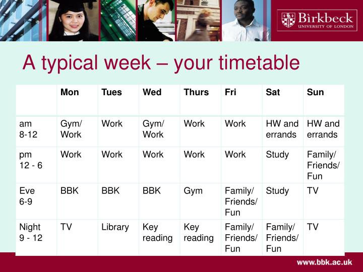 A typical week – your timetable