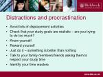distractions and procrastination