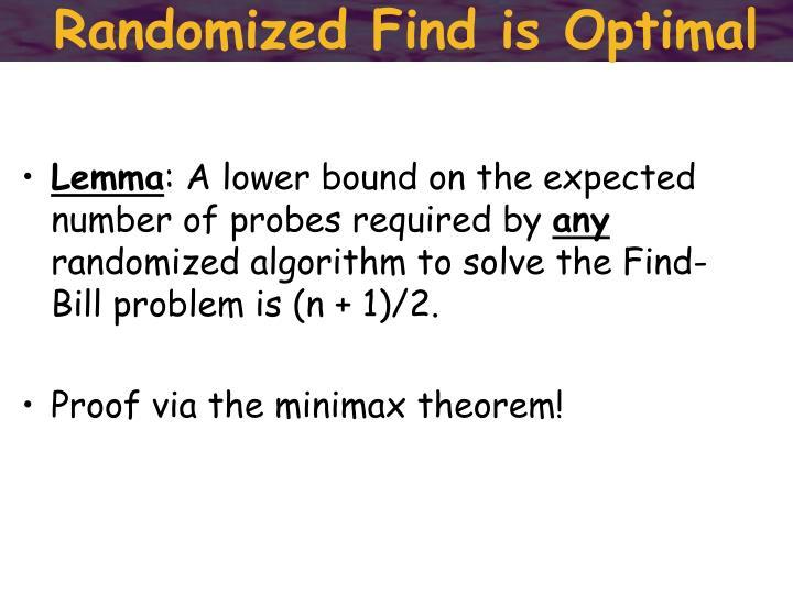Randomized Find is Optimal