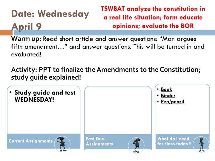 TSWBAT analyze the constitution in a real life situation; form educate opinions; evaluate the BOR