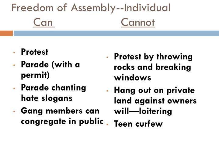 Freedom of Assembly--Individual