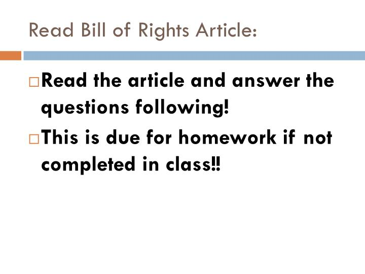 Read Bill of Rights Article: