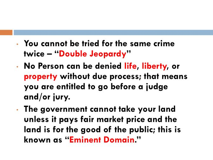 You cannot be tried for the same crime twice – ""