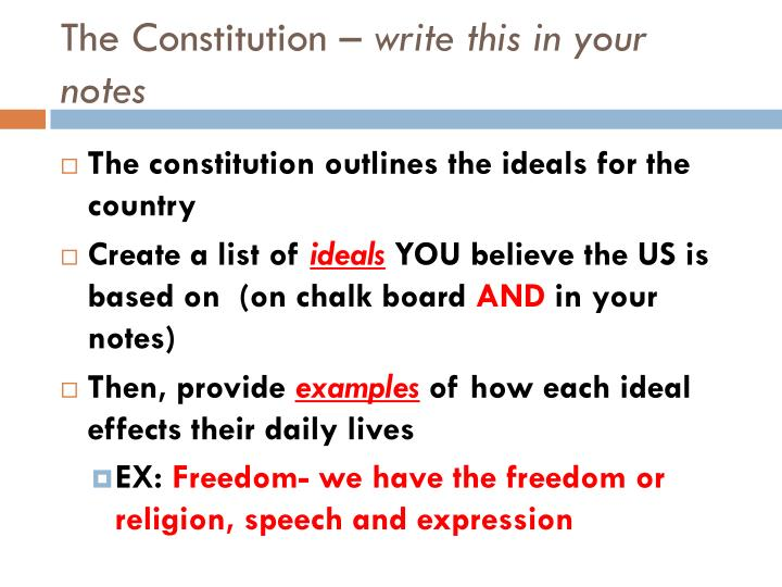 The constitution write this in your notes