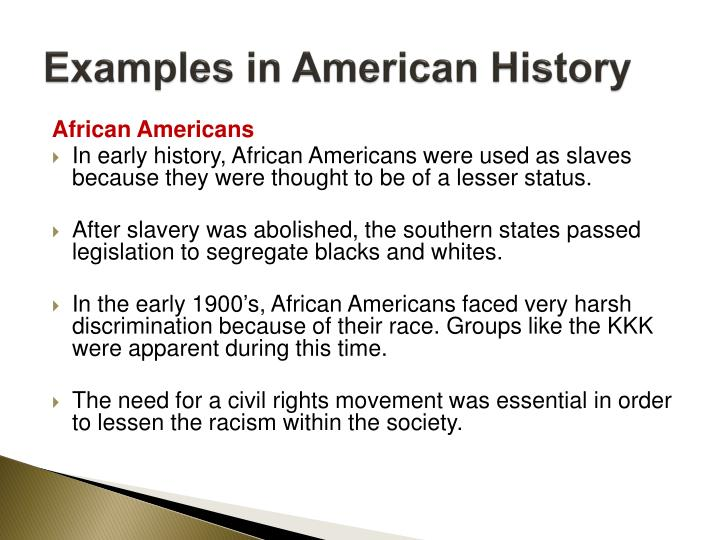 Examples in American History