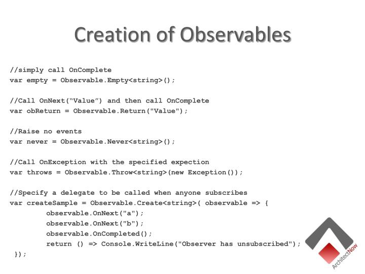 Creation of Observables