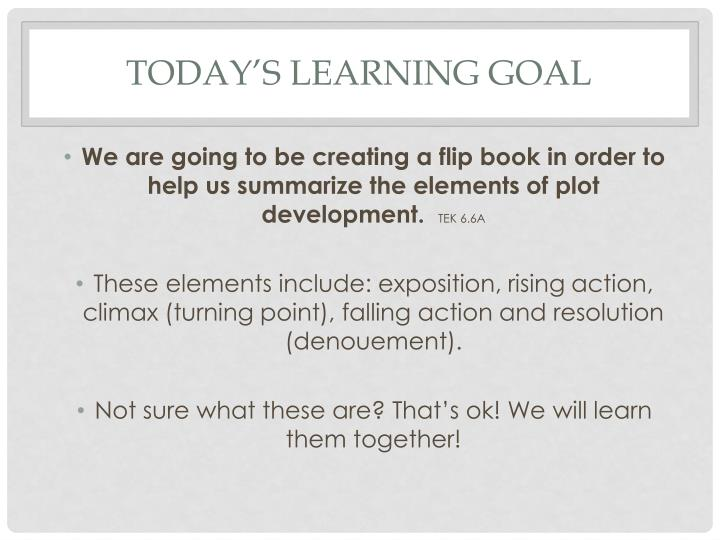Today's learning goal