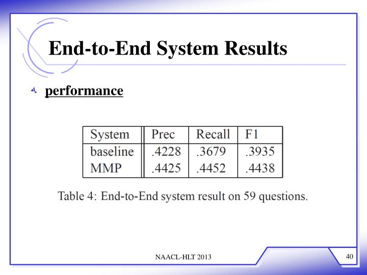End-to-End System Results