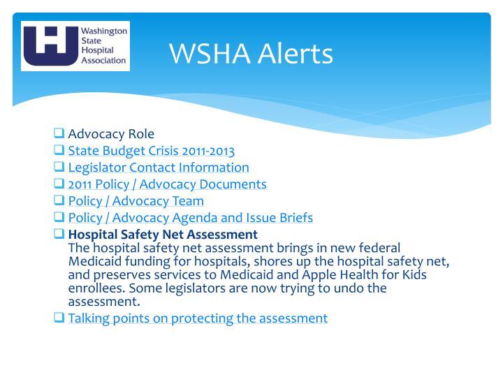 WSHA Alerts