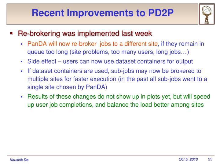 Recent Improvements to PD2P