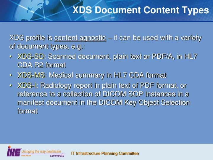 XDS Document Content Types