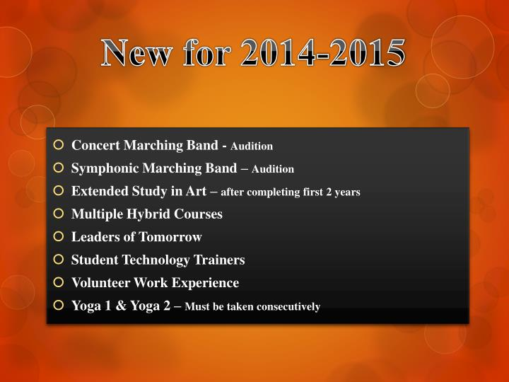 New for 2014-2015