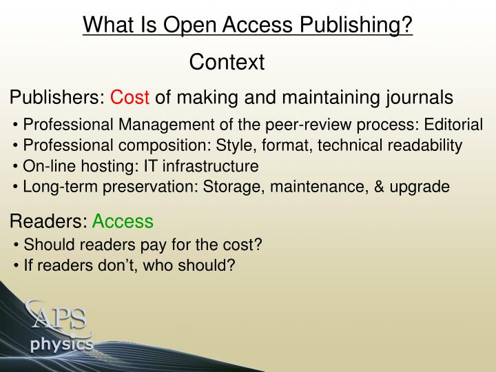 What Is Open Access Publishing?