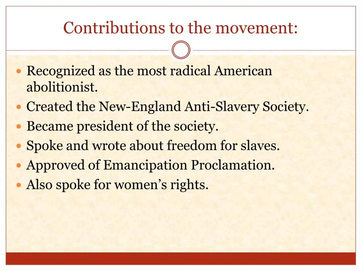 Contributions to the movement: