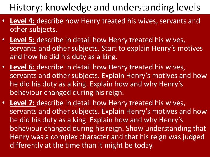 History knowledge and understanding levels