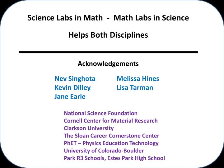 Science Labs in Math  -  Math Labs in Science