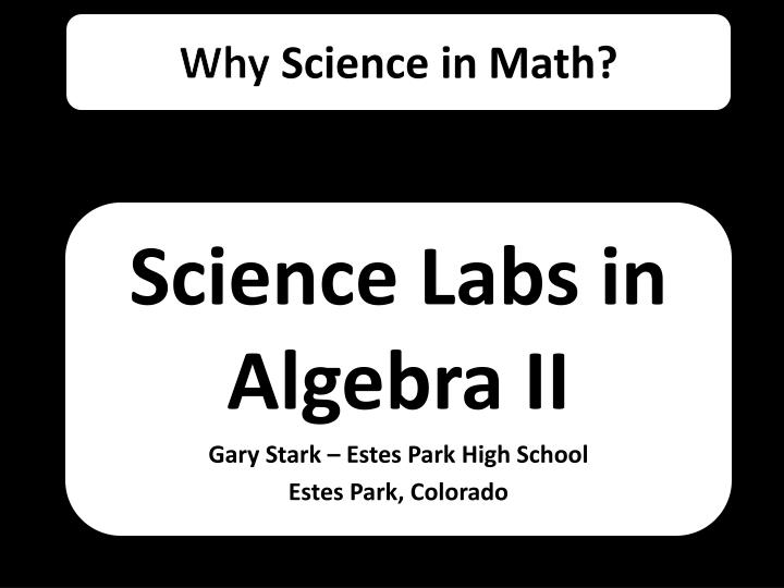 why science in math