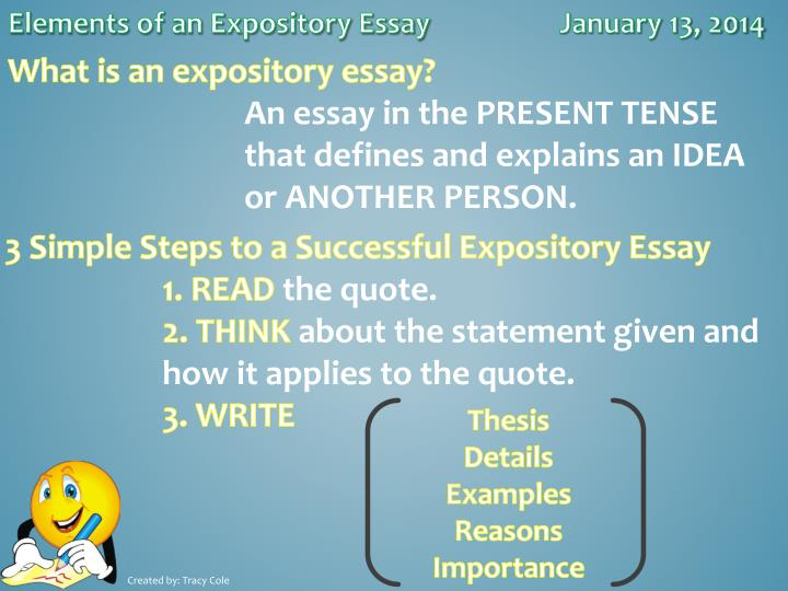 Elements of an Expository Essay		January 13, 2014