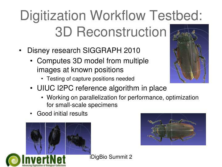 Digitization Workflow Testbed: