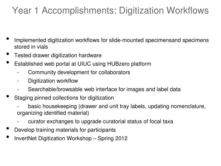 Year 1 Accomplishments: Digitization Workflows