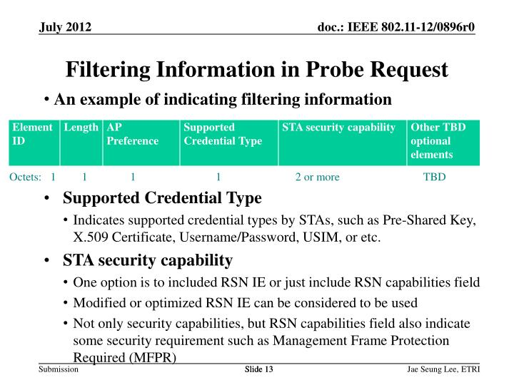 Filtering Information in Probe Request