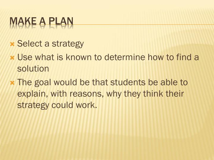 Select a strategy