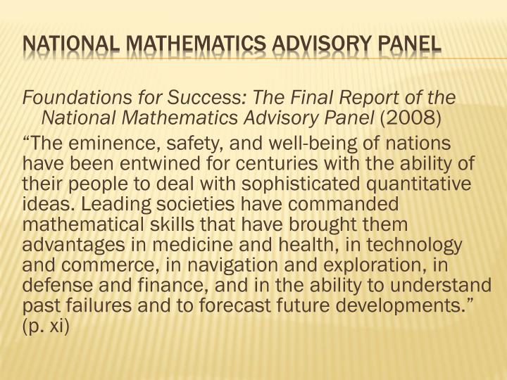 Foundations for Success: The Final Report of the National Mathematics Advisory Panel