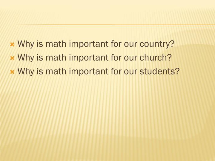 Why is math important for our country?