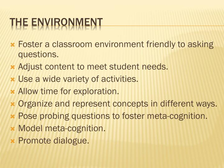 Foster a classroom environment friendly to asking questions.