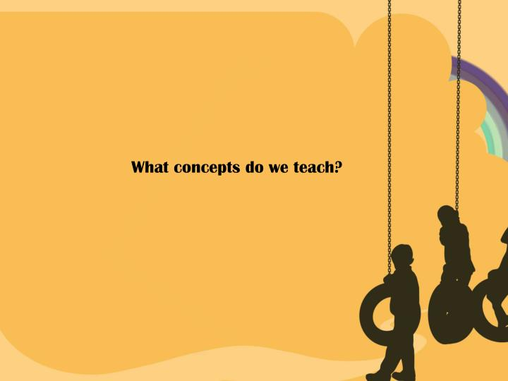 What concepts do we teach?