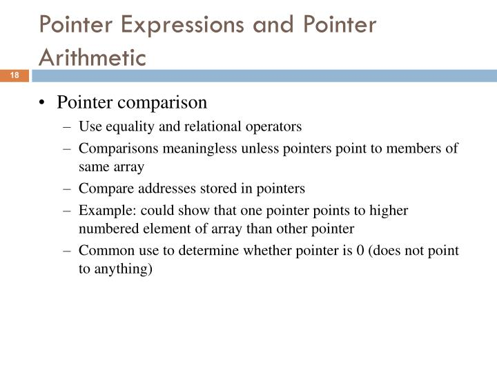 Pointer Expressions and Pointer Arithmetic